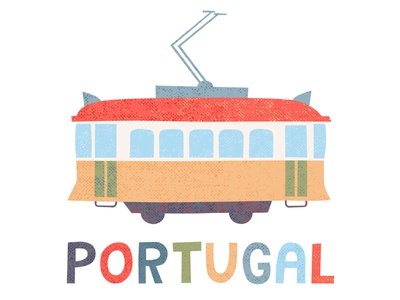 Portugal tram sign tramway minimal design illustration logo poster icon vector portuguese portugal tram