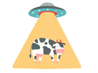 UFO abducting a cow illustration vector logo spaceship invasion cow stealing ufo abduction