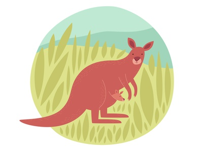 Kangaroo child bag zoo tail mammal illustration minimal wallaroo wallaby animal australian australia kangaroo vector logo icon