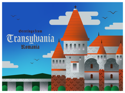 Transylvania, Romania bran castle european eastern europe castle dracula wish you were here greetings card travel transylvania romania graphic design design agency city icon illustration