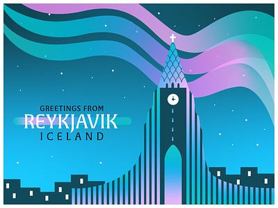 Reykjavik, Iceland top 5 greeting cityscape clocktower waves travel fairytale explore magical aurora borealis northern lights church stars city illustration postcard design reykjavik illustraion postcard icelandic iceland