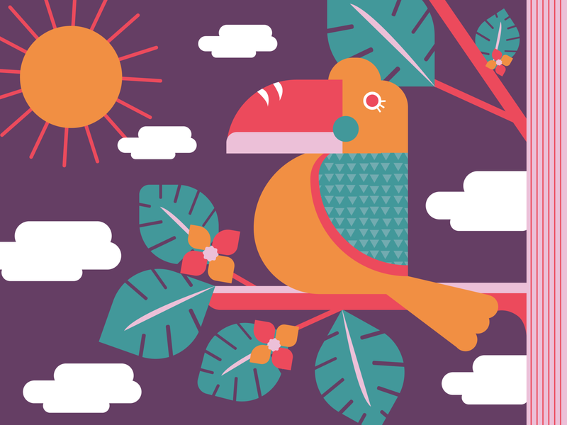Tropical Toucan experiment birds of prey funky fun pink summer tropical leaves tropical good vibes sunny day bird toucan explore sunny exploration jungle dreams summertime exotic illustration