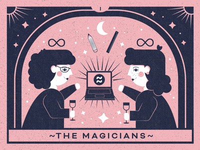 The Digital Magicians of Nuevo Studio design agency magic card digital esoteric designs esoteric arcane major arcana designer star graphic design wine tarot card magic drawing pink magician tarot illustration