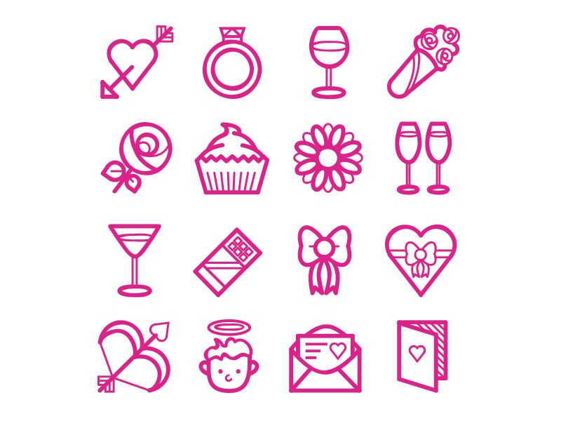 Valentine's Day Icons valentines day love icons set icon heart