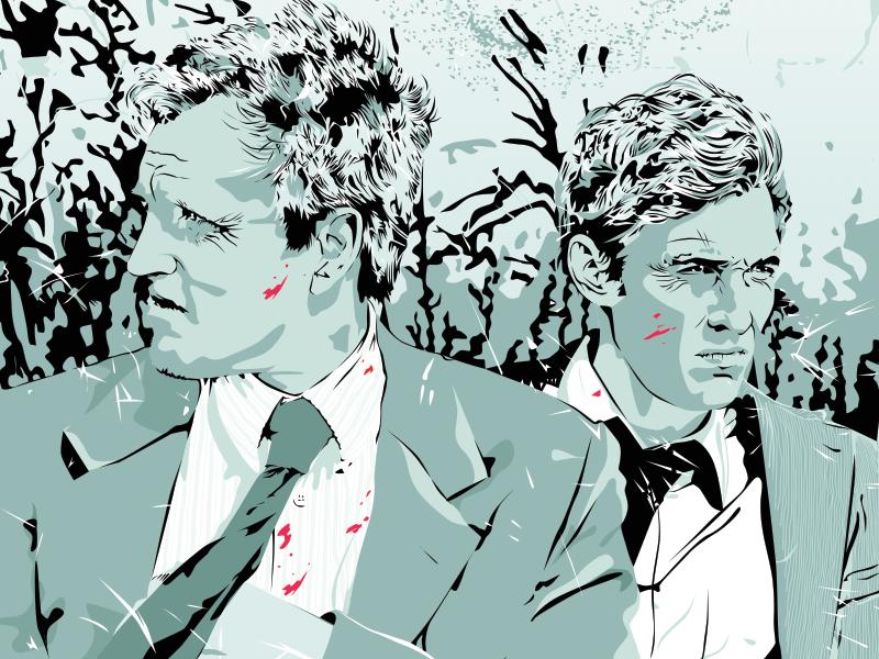 Marty & Rustin true detective illustration illustrator graphics art