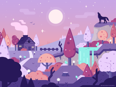 WolfWoods adobe illustrator illustration flatdesign vector art dusk purple crystals fantasy forest spooky woods halloween wolf