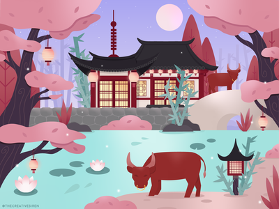 Year Of The Ox flatdesign adobe illustrator vector art illustration oriental dusk paper lantern lotus botanical garden pagoda new year ox year of the ox chinese new year lunar new year