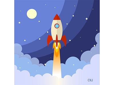 Rocketship rocketship vector art illustration spaceship outerspace flatdesign