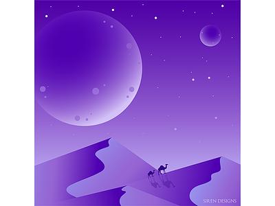 Camels vector art flatdesign illustration monochromatic moon gradient purple desert camels