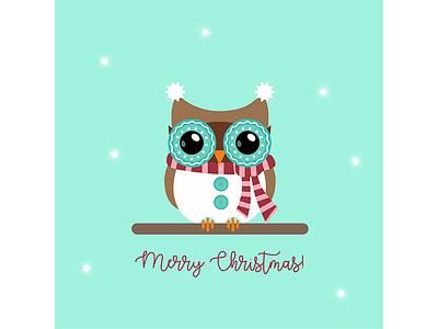 Christmasowl scarf vector art flatdesign illustration winter christmas holiday mint snowflakes owl christmas card