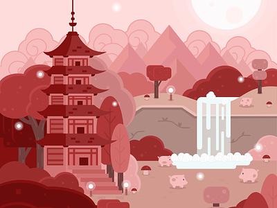 Lunarnewyear landscape pagoda pig chinese new year lunar new year fantasy art adobe illustrator illustration flatdesign vector art