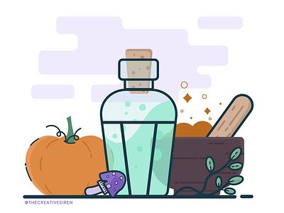 October Potions adobe illustrator vector art flatdesign concoction pumpkin alchemy potions