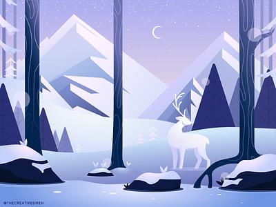 Winterscape purple winter wonderland winter landscape mountains forest deer winter vector art flatdesign adobe illustrator illustration