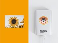 Logo for Agrius Invest Trade symbol sunflower vector branding logo design