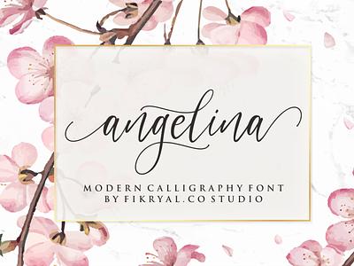 angelina label magazine invitation font advertisements tittle script lettering design logo branding