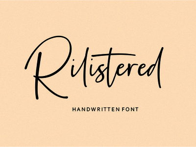 Rilistered Handwritten font web design magazine special event watermark photography label product designs product packaging advertisements social media posts wedding designs tittle invitation branding logo