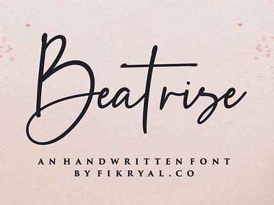 Beatrise Handwritten Font font script bundle vector script lettering web design magazine special event watermark photography label product designs product packaging advertisements social media posts wedding designs tittle invitation branding logo