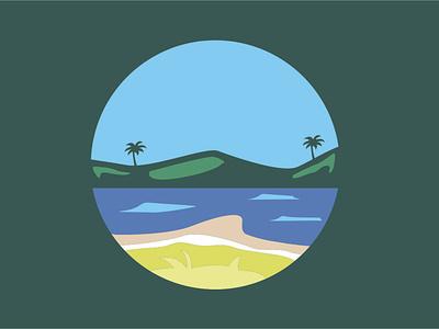 Mountain and sea icon advertisements ux vector illustration branding design logo