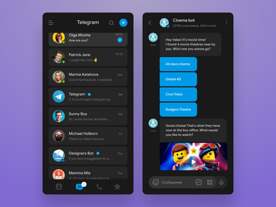 Telegram concept redesign (Dark mode) night mode dark theme dark mode dark whatsapp telegram ux ui figma sketch redesign messanger messaging concept clear clean chatting blue app android