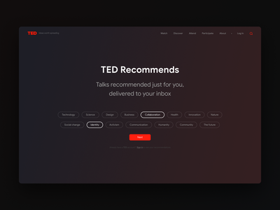 Tedx Recommends redesign concept clean clear night mode dark web ux ui red tedx ted