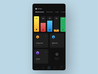 Smart home app night mode dark smart house smart home sketch app android ux clear clean ui