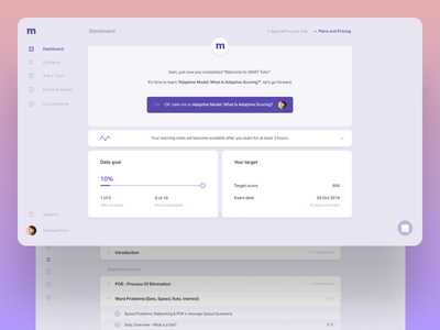 Mindojo educational platform redesign dashboad figma teaching tutorial courses learning education violet web redesign concept sketch ux clear clean ui