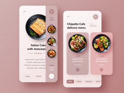 Chipotto Cafe Delivery Menu App orders restaurant cafe pink red dish menu delivery food figma app ux clear clean ui