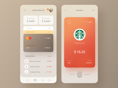 Dieter Finance App master card apple pay transactions money payment wallet credit card banking finance warm orange figma app ux clear clean ui