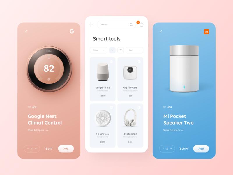 Smart Tools online store catalogs online seller buy shop store product monster beats google nest e-comerce pink concept figma app blue ux clear clean ui