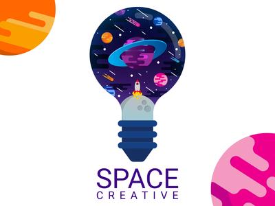 Space creative design vector flat design drawing illustration