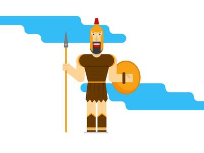 Gladiator character vector flat design drawing characterdesign illustration