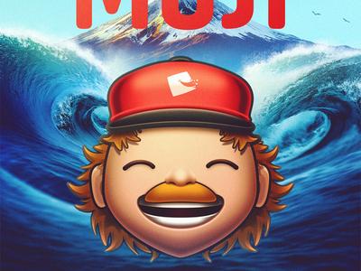 Moji - Final piece icon illustration red hat moustache stache confused scared happy mountain waves uwu jeji omeji juji fuji arigato jimbo joji moji