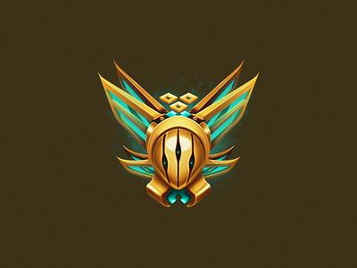 Gold queen alien concept destiny hive cyan glow icon rank gold