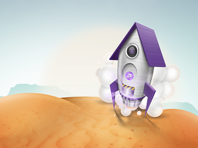 Petsmos space rocket sand purple metal blue sea smoke coming soon wooosh leprechauns