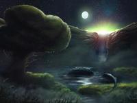 Valley at night