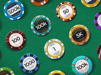 Chips for Blackjack! photoshop vector numbers table green felt gambling casino blackjack poker chips