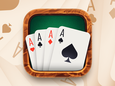Solitaire App Icon casino gambling texture photoshop lighting ace aces card  game ios car app icon felt wood cardstock cards solitaire