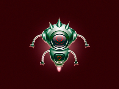Roboto design illustration easy education fun vector photoshop practice alert red green heart robot