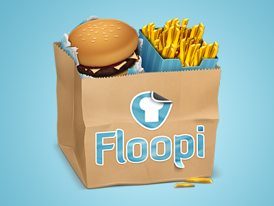 Client Icon#1 food icon bag logo sticker umbrella burger paper fries