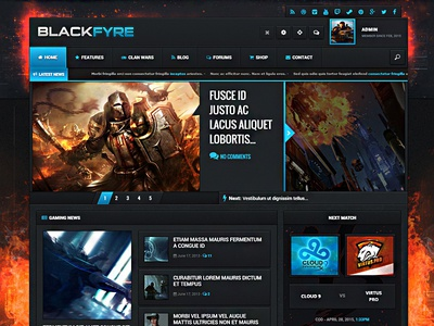 Blackfyre - Create Your Own Gaming Community gaming wordpress wordpress theme website gaming website game community