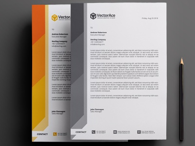 Corporate Letterhead clean letterhead a4 size green red orange blue white design branding print ready abstract black vector corporate professional