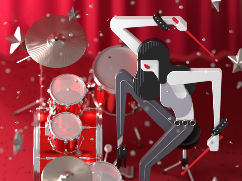 2.5D punk drummer vector geometric curtain red character blender render 3d illustration 3d modeling 3d bracelets punk brunette illustration music drums drum kit drum set drummer