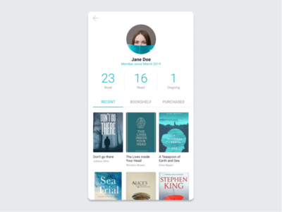 Daily UI :: 006 - User Profile reading app reading app mobile ui design dailyui