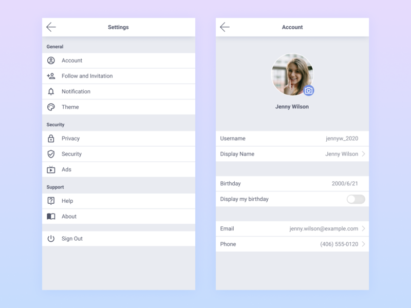Daily UI :: 007 - Settings settings mobile ui design dailyui