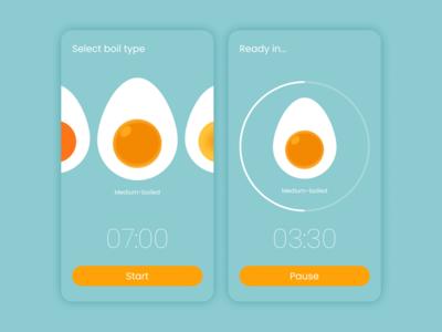 Daily UI :: 014 - CountdownTimer countdown timer countdown egg timer timer egg app ui mobile design dailyui