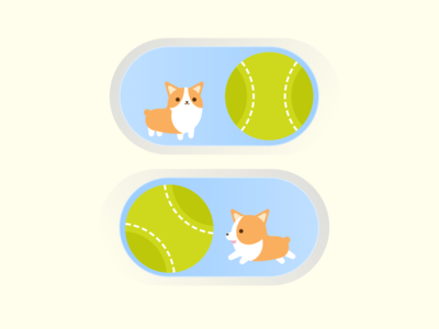 Daily UI :: 015 - On/Off Switch graphic dog corgi switch on off switch button ui design dailyui