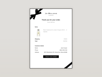 Daily UI :: 017-Email Receipt email design email email receipt ui design dailyui
