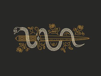 Snake & Dagger snake dagger illustration simple lines rose flower eye scales vines knife modern