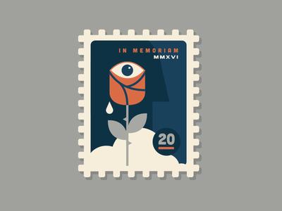 In Memoriam illustration simple head eye tear flower rose memoriam stamp