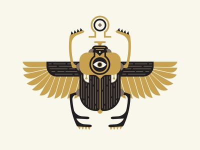 Scarab poster gig black gold lines eye wings alchemy egyptian beetle illustration scarab